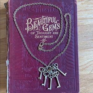 Vintage Casual Corner Gold Tone Key Necklace